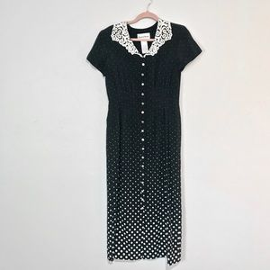 Vintage | Lace Collared Button Down Polka DotDress